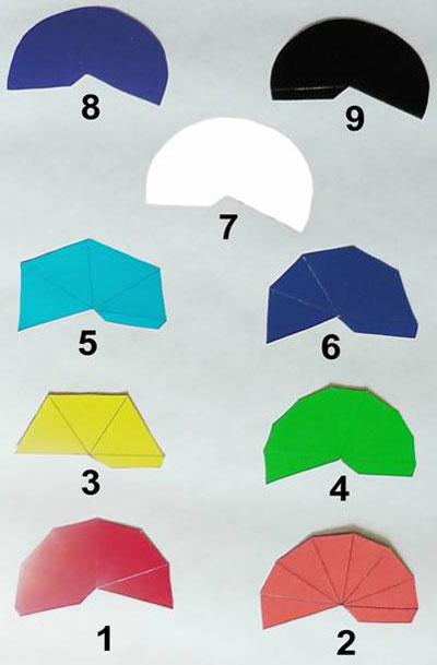 Развертка многогранных цветных пирамид на плоскости