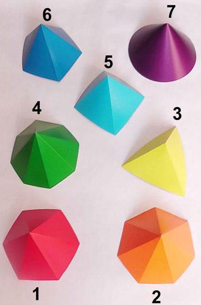 Пирамидотерапия. Изображение многогранных цветных пирамид.